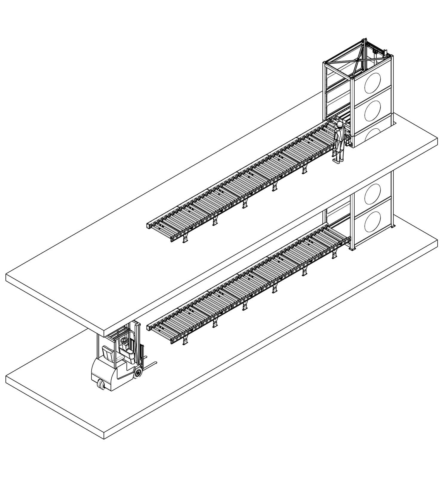 Hydraulische goederenlift met Rollerbanen